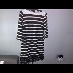 New York & Company Striped Black White Dress